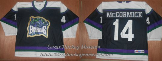 Mike McCormick - Mike McCormick Jersey - Texas Hockey - Fort Worth Hockey - Fort Worth Brahmas Hockey - WPHL Hockey - Western Proffessional Holckey League- CHL Hockey - Central Hockey League