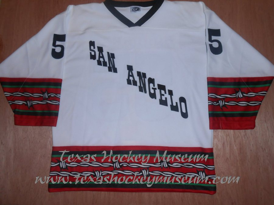 4a3034066fc ... John Jarram Military Appreciation Hockey Jersey. Miscellaneous. 2002-2003  CHL San Angelo Saints Carl Boudreau (Pro Weight)
