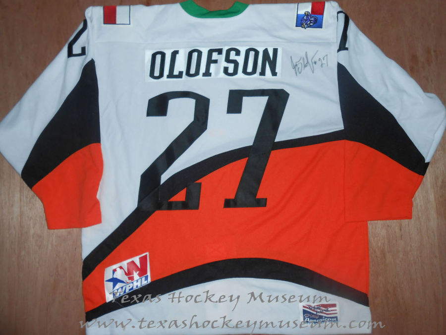 "Jon ""Oly"" Olofson - Jon ""Oly"" Olofson Jersey - Texas Hockey - Fort Worth Hockey - Fort Worth Brahmas Hockey - WPHL Hockey - Western Proffessional Holckey League- CHL Hockey - Central Hockey League"