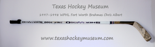 Chris Albert Hockey Stick - Sher-Wood P.M.P 7000 Hockey Stick - Fort Worth Brahmas Hockey - WPHL Hockey - Western Proffessional Holckey League- CHL Hockey - Central Hockey League