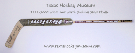 Steve Plouffe Heaton Helite 5 Goalie Hockey Stick - Heaton Helite 5 Goalie Hockey Stick - Fort Worth Brahmas Hockey - WPHL Hockey - Western Proffessional Holckey League- CHL Hockey - Central Hockey League
