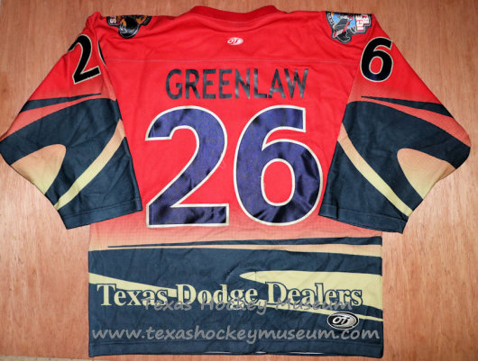 eff Greenlaw - Jeff Greenlaw Jersey - Texas Hockey - Austin Hockey - Austin Ice Bats Hockey - WPHL Hockey - Western Proffessional Holckey League- CHL Hockey - Central Hockey League