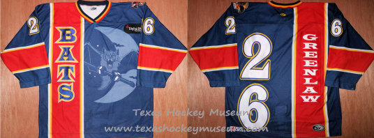 Jeff Greenlaw - Jeff Greenlaw Jersey - Texas Hockey - Austin Hockey - Austin Ice Bats Hockey - WPHL Hockey - Western Proffessional Holckey League- CHL Hockey - Central Hockey League