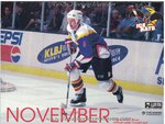 1996-1997 WPHL Austin Ice bats Team Calander November Jim Burton
