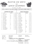 1996-1997 WPHL Austin Ice Bats Opening Night Roster front